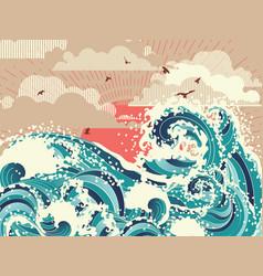 Retro ocean waves vector