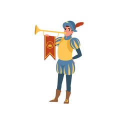 Royal herald with trumpet european medieval vector