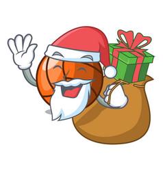 Santa with gift volleyball mascot cartoon style vector