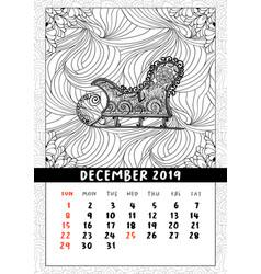 santas sledge coloring book page calendar vector image