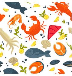 seafood fresh fish catch seamles spattern vector image