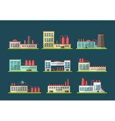 Set flat design industrial buildings pictograms vector