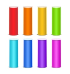 Set of Colored Chips Tin Box Tube on Background vector image vector image