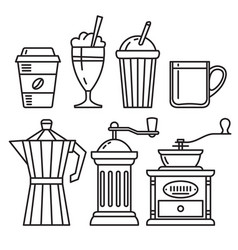 set of icons of coffee accessories vector image