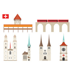 set switzerland landmark icons in flat style vector image
