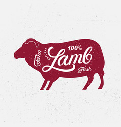 Sheep ram silhouette and hand written lettering vector