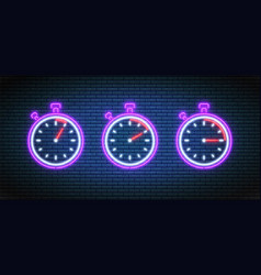 Stopwatch timers with 5 10 and 15 minutes in neon vector