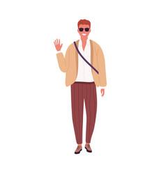 stylish guy in sunglasses smiling waving hand vector image