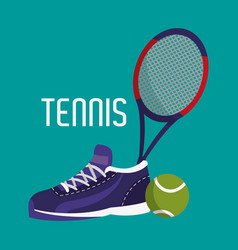 Tennis racket with ball and sneaker objects vector