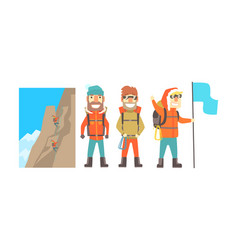 three male climbers in warm jackets vector image