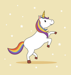 unicorn with rainbow mane and horn vector image