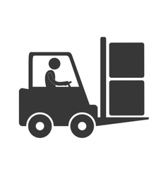 worker driving forklift truck delivery box figure vector image