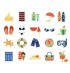 Beach summer vacation flat icons vector image
