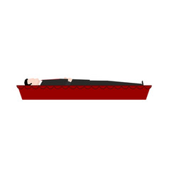dead man in coffin isolated departed in red vector image