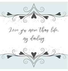 hand drawn lovely valentines day greeting card vector image