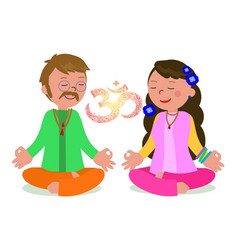 hippie couple in zen pose vector image