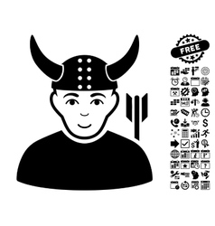 Horned Warrior Flat Icon With Bonus vector image vector image
