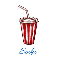 soda drink striped fast food paper cup icon vector image