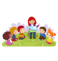 teacher telling story to children in the garden vector image vector image
