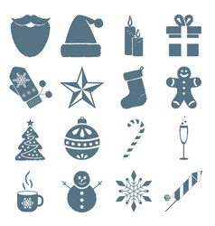 collection of winter and christmas icons vector image vector image
