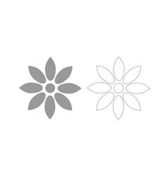 flower grey set icon vector image vector image