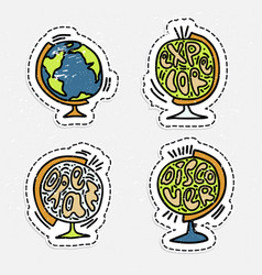 set of hand draw globe with lettering about vector image