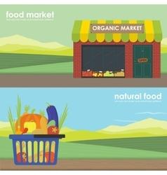 Shopping basket full of healthy organic banner set vector image