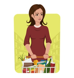 woman with shopping cart vector image vector image