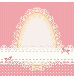 Easter vintage card with egg on pink background vector image