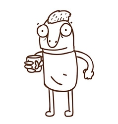 Hand Drawn Cartoon Man with a Drink vector image vector image