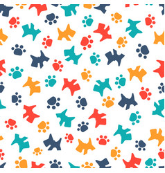 pattern with cartoon dog and paws vector image vector image
