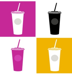 plastic cup glass icons vector image vector image