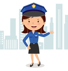 Cheerful policewoman vector image