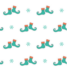 christmas seamless pattern with elf boots vector image vector image