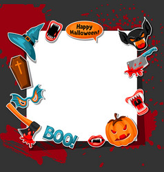 happy halloween frame with cartoon holiday sticker vector image