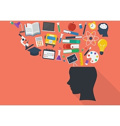 Human head with education icons vector image