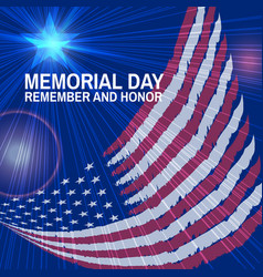 Memorial day greeting card flag and star vector