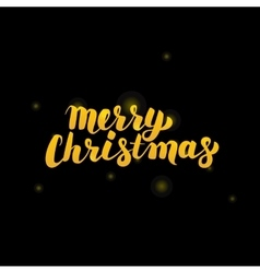 Merry Christmas Gold Lettering over Black vector image