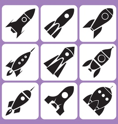 rocket icons set vector image vector image