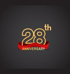 28 anniversary logotype design with line golden vector