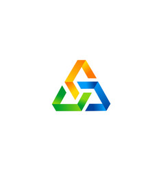 3d triangle colored business logo vector image