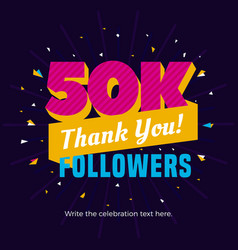 50k followers card banner post template for vector