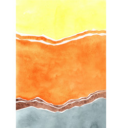 Abstract yellow orange and grey color watercolor vector
