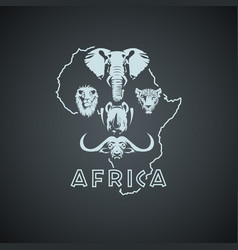 African continent shape with big five animals vector