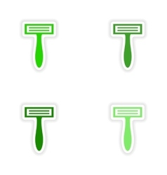 Assembly realistic sticker design on paper razor vector