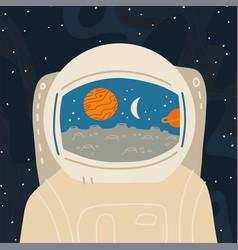 Astronaut close-up reflection in helmet vector