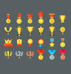 Award icons golden trophy cup reward goblets vector