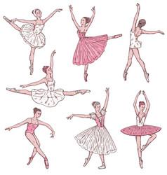 Ballerinas in classical dress dance in dancing vector