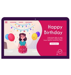 banner happy woman celebrate birthday vector image