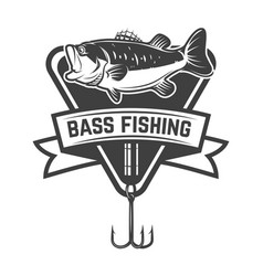 Bass fishing camp emblem template with perch vector